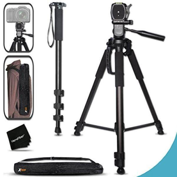 Durable Pro Grade 75 inch Tripod + 72 inch Pro Monopod W/ Convenient Backpack style Carrying Case for Canon EOS 70D 60D 7D 6D 5D 7D Mark II EOS Rebel T6i T6S T5i T5 T4i T3i T3 T2i SL1 750D 700D 650D 600D 550D 1200D 1100D 100D EOS M3 M2 T1i XTi XT SL1