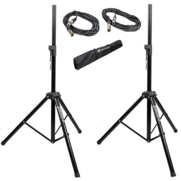 Pair of Rockville Adjustable Tripod Speaker/Light Stands+(2) 20 Foot XLR Cables / From USA