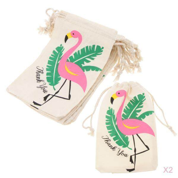 Bolehdeals 20pcs Flamingo Thank You Cotton Linen Jewelry Pouch Drawstring Bag Favor By Bolehdeals.