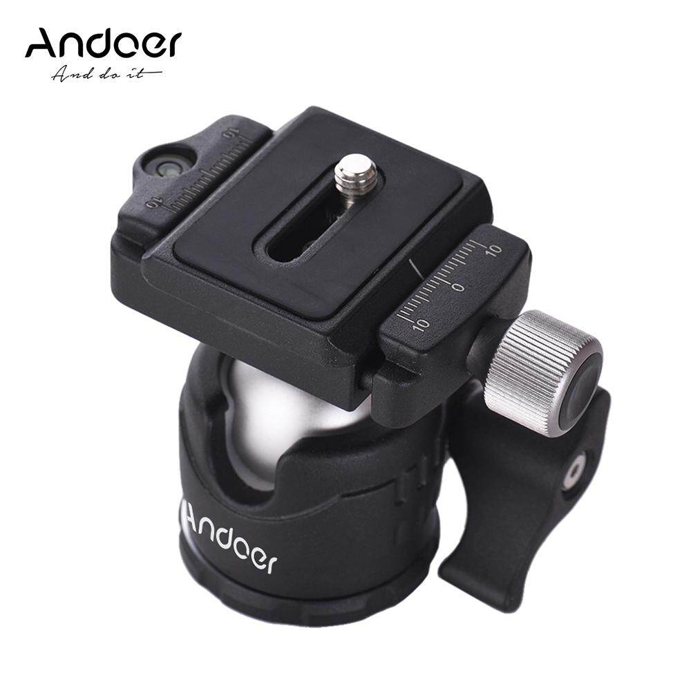 Andoer Mini Tabletop Ball Head 360 Degree Video Tripod Ballhead Mount with Quick Release Plate and Bubble Level for Canon Nikon Sony DSLR Camera for iPhone X 8 7 6S plus for Samsung Galaxy for GoPro Hero 6/5/4/3+