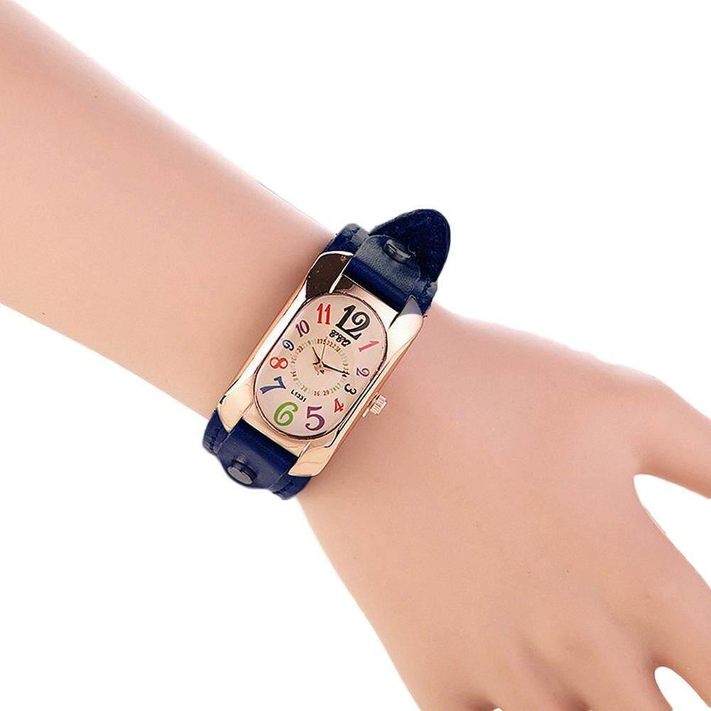 Bluelans®SKMEI Vintage Faux Leather Women Multi-color Time Scales Analog Quartz Wrist Watch