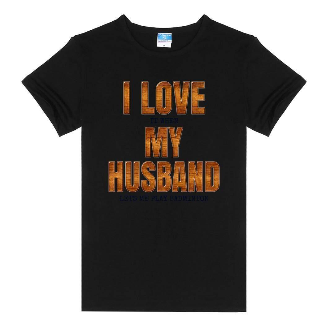 Toprank Wanita Pakaian Santai Bundar Polos Leher Lengan Pendek T-shirt I Love Ketika Suami