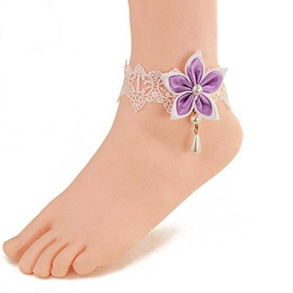 Wowlife Purple Chinese Redbud Flower Lace Ankle Ring Foot Sandal Beach Wedding Ankle Bracelet Women Girls Anklet Bracelet / From USA