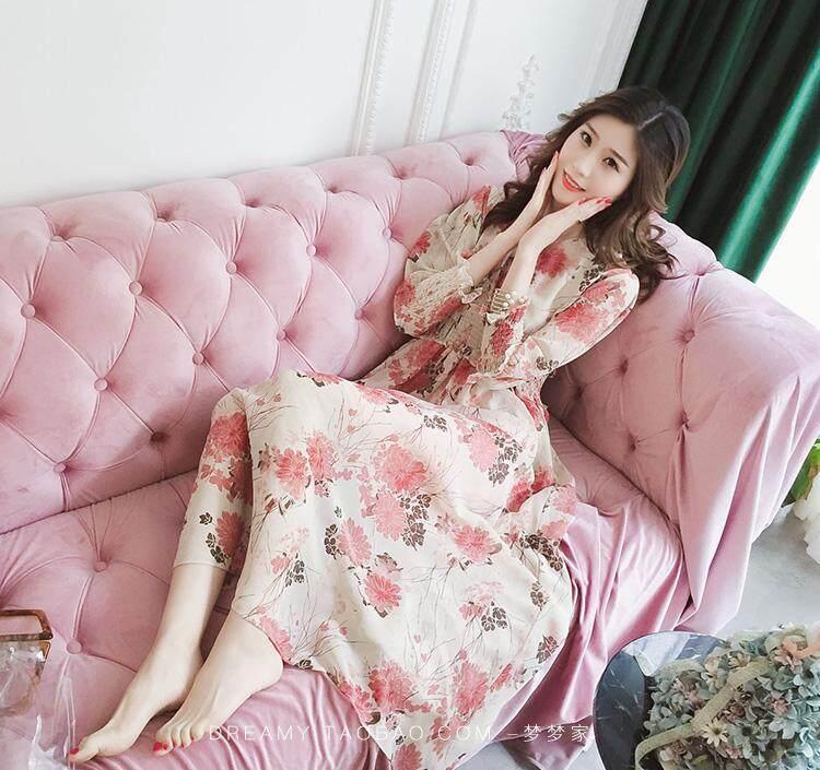 Musim semi dan musim panas Floral Sifon gaun peri Elegan wanita yang bermoral chic gaun panjang Retro Korea Selatan I-style murid Super elegan Gadis Mori - 4