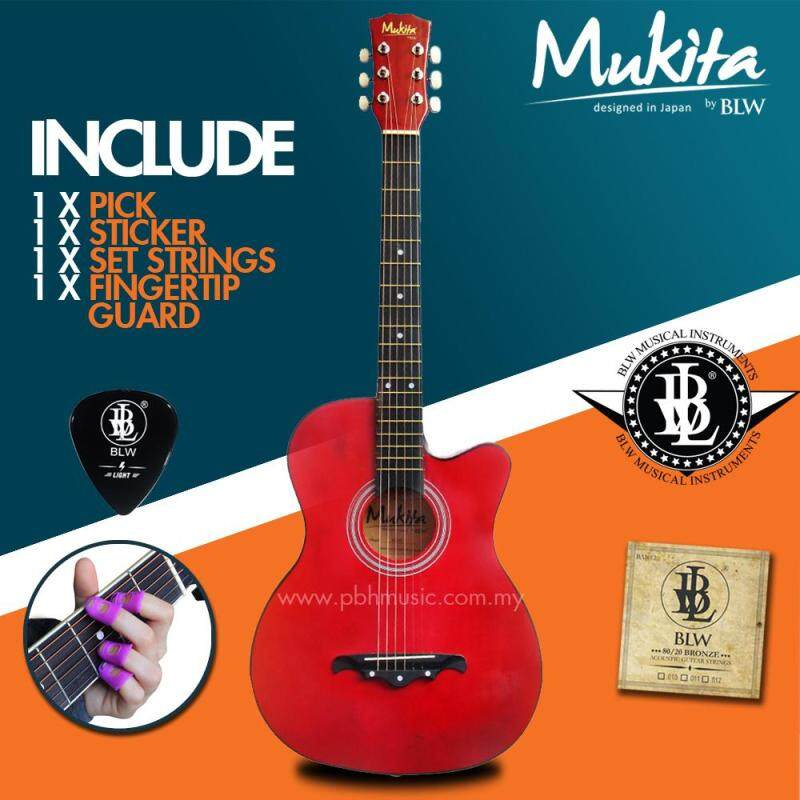 Mukita by BLW Standard Acoustic Folk Cutaway Basic Guitar Package 38 Inch for beginners with String Set, Fingertip Guard, Pick and Merchandise Sticker (Red) Malaysia