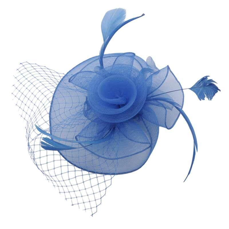 Women Hair Clip Flower Bead Wedding Cocktail Fascinator Veil Pillbox Hat  Feather Royal Blue 977cbb68c05