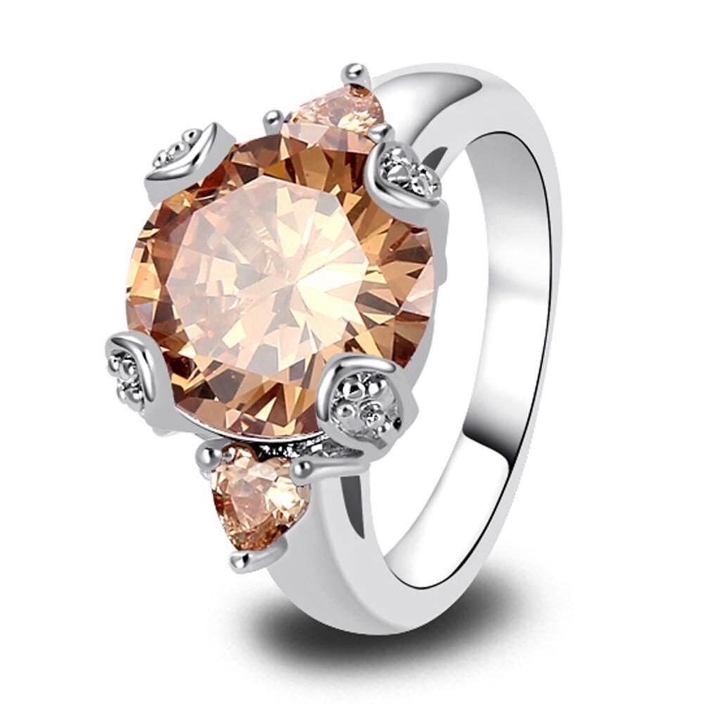 Modis Wanita Berlian Buatan Solitaire Janji Cincin Pertunangan Pernikahan Perhiasan Hadiah U.s. 10 (Champagne)-Internasional