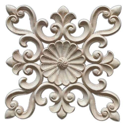 1X Rubber Wood Carved Floral Decal Craft Onlay Applique Furniture DIY Decor #D:20*20cm - intl
