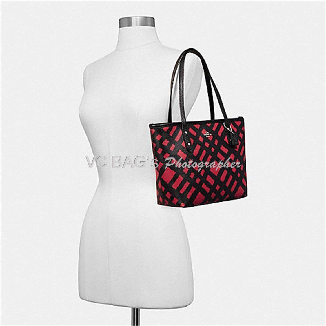 Features Coach F22244 Mini City Zip Tote Bag With Shadow Plaid Print 2