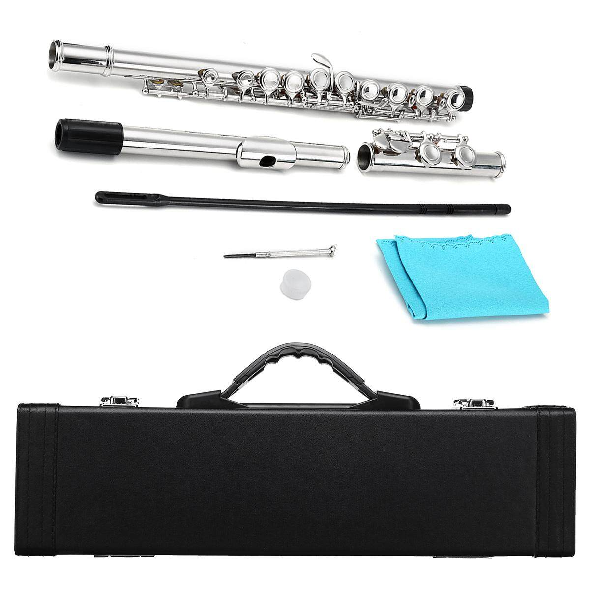 16 Hole Keys Nickel Plated Silver C Tone Intermediate Student Concert Band Flute By Glimmer.