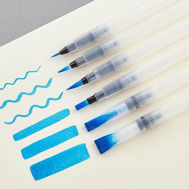 6 Pcs Refillable Pilot Paint Brush Water Color Brush Pencil Ink Pen Soft Watercolor Brushes for