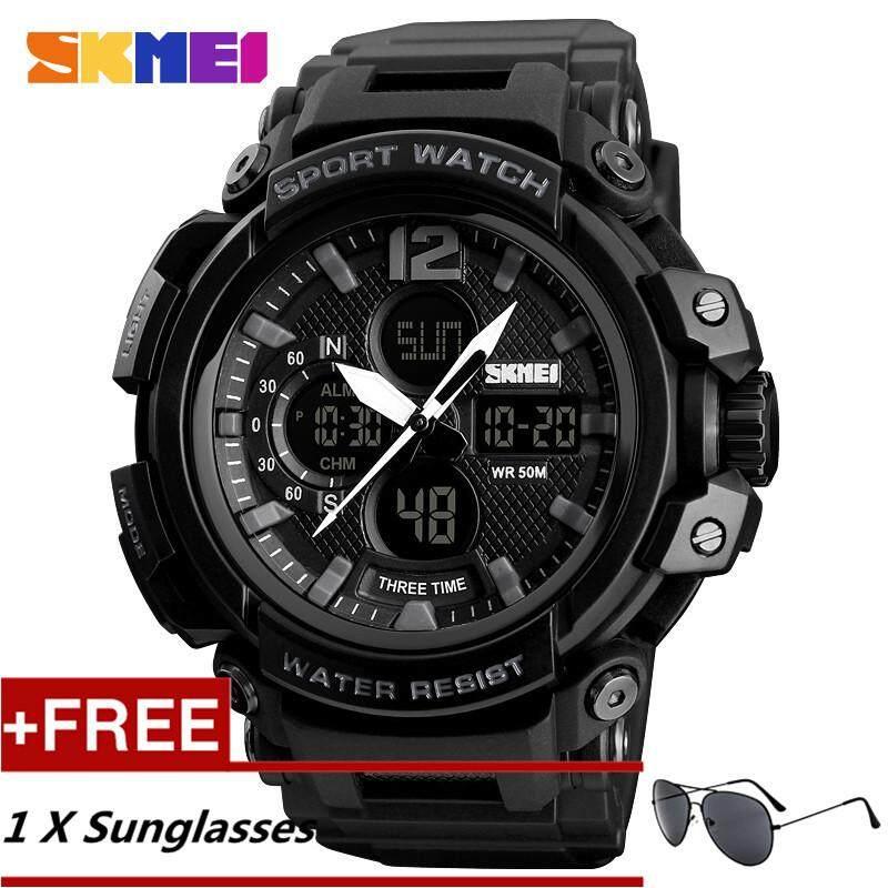 NanXiangZi Skmei Three time outdoor sports waterproof Sport mens Watch 1343 + Free a Sunglasses Malaysia