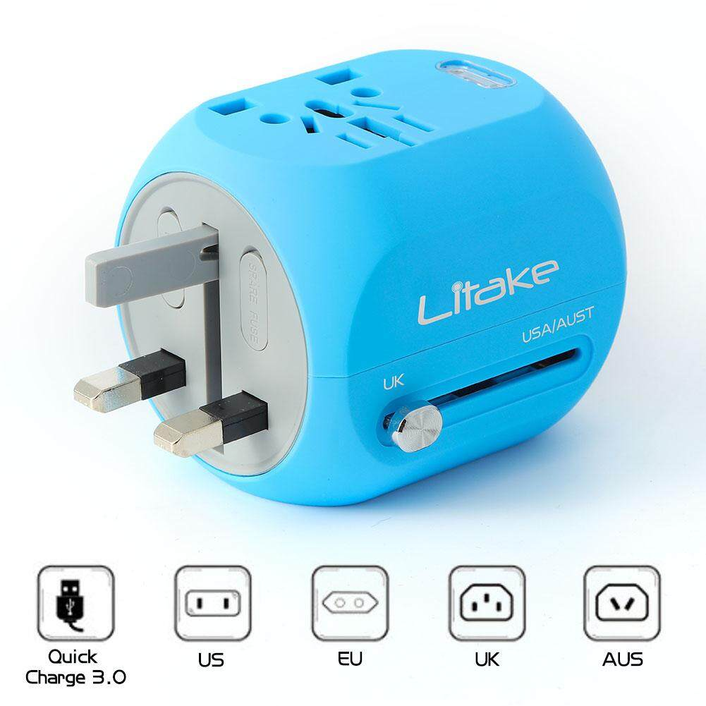 Mini Travel Power Adapter, All In One Wall Plug Travel Adapter with QC 3.0 USB Charger And Type-C Connector  for UK, EU, AU, US Covers 150+Countries