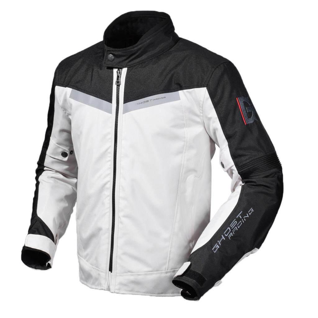 Miracle Putih Cemerlang Motor Balap Berkuda Jaket Dengan Dapat Dilepaskan Bantalan Pelindung XL-Internasional