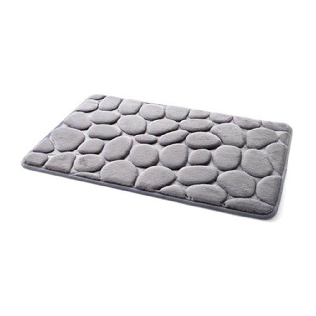 Elec Non-Slip 3D Batu Warna Solid Rumah Karpet Kamar Mandi Dapur Keset-Intl