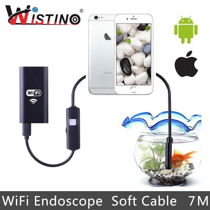 Wistino 8 Mm Endoskop Wifi Lembut Kabel 7 Meter Panjang HP Cerdas Mini Kamera Android HD 720 P Pengawasan Tabung Pipa Kabel Endoskopi iPhone Ip67 pemeriksaan