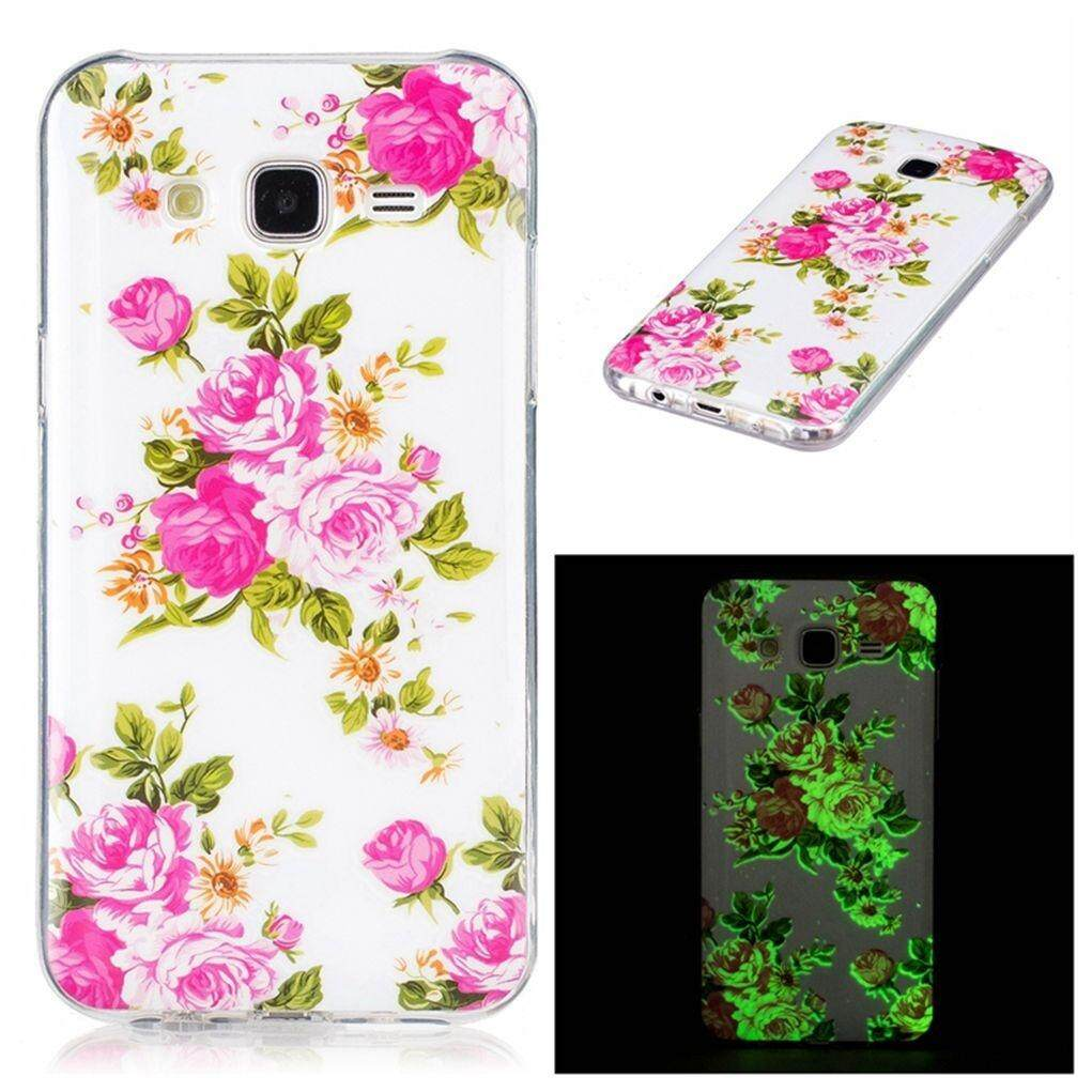 Luminous Rose Flower Silicon Soft Back Phone Case Cover For Samsung Galaxy J7 2015/J7