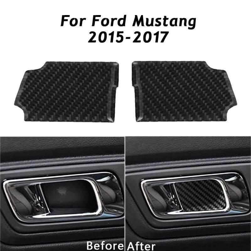 Black Carbon Fiber Door Interior Decorative Patch For Ford Mustang 2015-2017 - intl