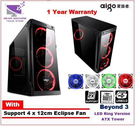 Aigo Beyond 3 ATX Tempered Glass Side Acrylic Gaming Chassis Malaysia