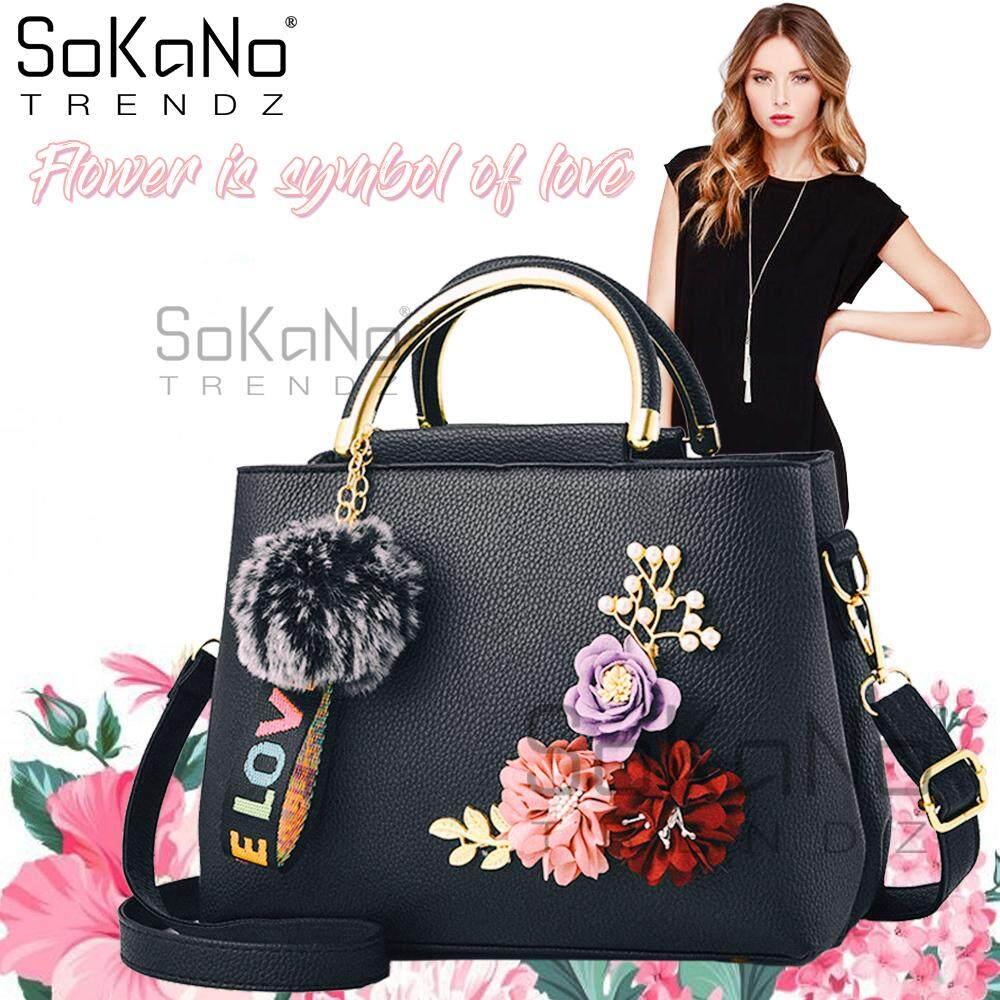 SoKaNo Trendz SKN848 Elegant Top Handle Tote Bag With Charms 3D Flowers (with long strap) Handbeg Wanita