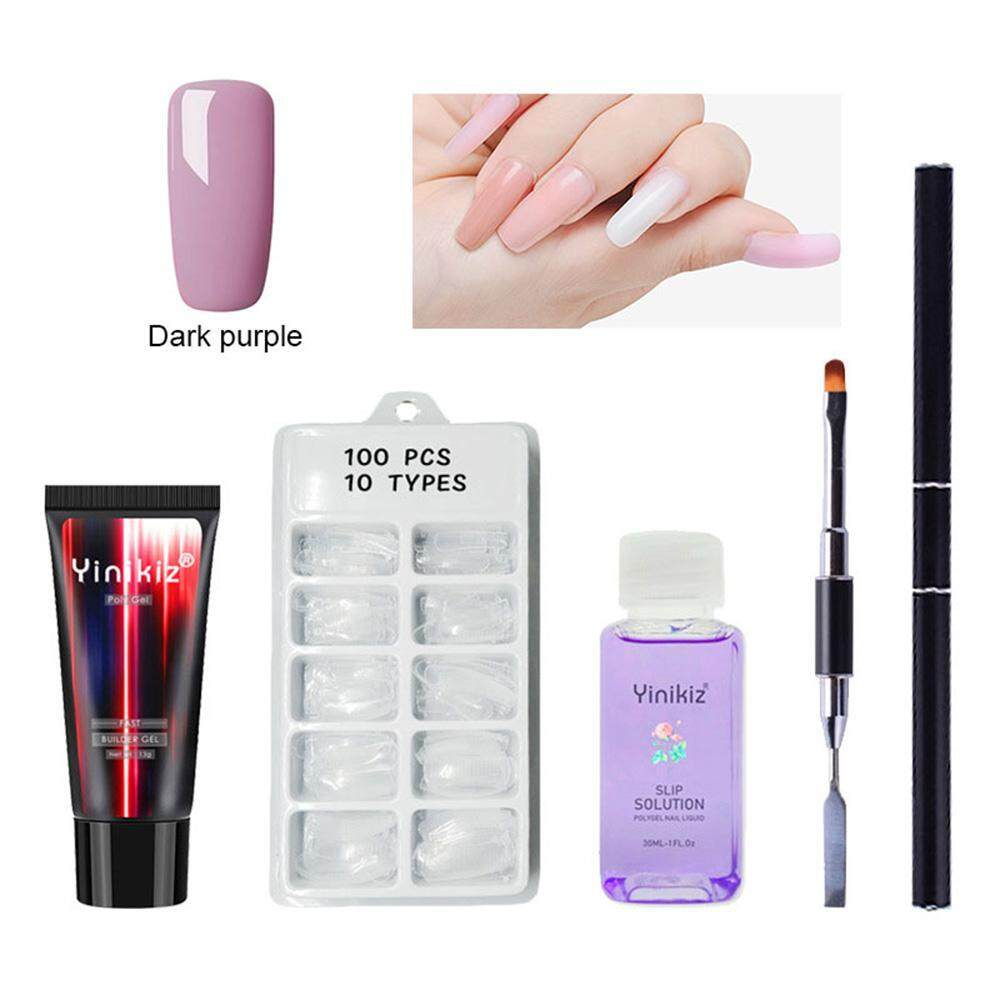 Treeone Poly Gel Nail Art Kit - (4Pcs), Poly Gel + Slip Solution Nail Liquid + Nail Tips + Double-ended Nail Brush, Nail Art Tool Sets Poly Glue Gel Nail Art Tool Philippines