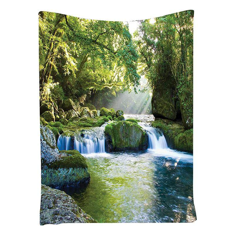 Green Tapestry Rainforest Waterfall Decor, Foliage Jungle Misty Mountains and Mossy Rocks View, Bedroom Living Kids Girls Boys Room Dorm Accessories Wall Hanging Tapestry, Green - intl