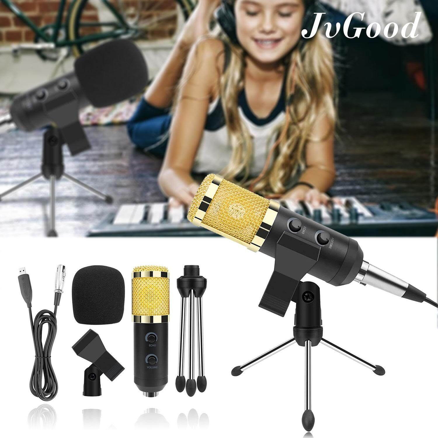 Jvgood Recording Microphone Accessories Usb Studio Condenser Youtube Csgo Studio Broadcasting Recording Condenser Microphone With Pop Filter, Mic Holder And 2m Cable By Jvgood.