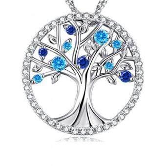 """... untuk Pasangannya Mom Keluarga Pohon Kehidupan Cinta Kalung March Birthstone aquamarine dan Safir Sterling Perak 18 """"+ 2"""" Rantai-Internasional terbaik ..."""