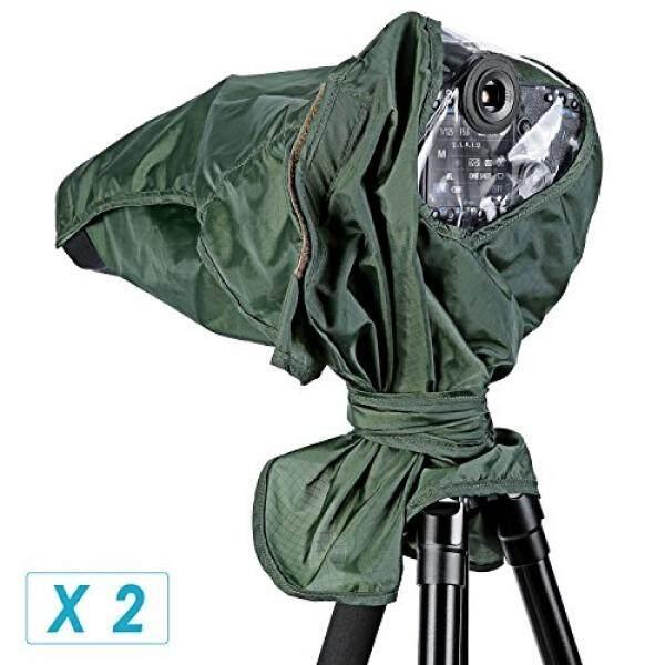 Neewer®2 Pack Pelindung Hujan Yg Tahan Hujan Pelindung Kamera untuk Perkakas Bertualang Pentax Olympus Fuji dan Lensa Hingga 257 Mm Panjang dan 95 Mm diameter Lensa DSLR Kamera (Hijau) -Intl