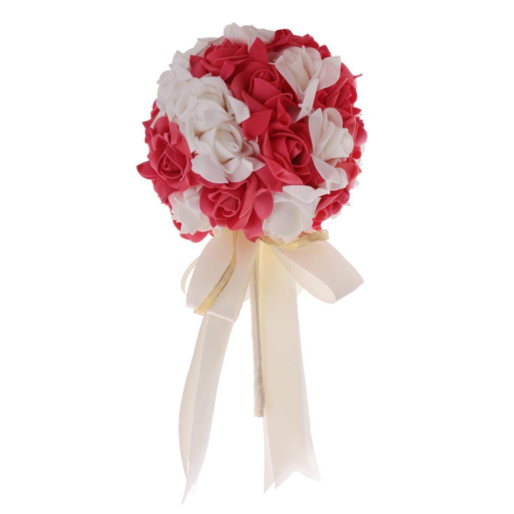 GuangquanStrade Wedding Bridal Artificial Foam Roses Flower Bouquet Ribbon watermelon red