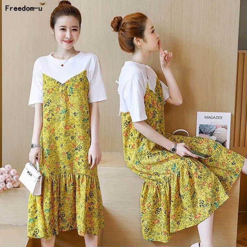 Pakaian Hamil Sifon Gaun untuk Wanita Hamil Bunga Maxi Long Gaun Fashion Pendek Lengan Kembali Bungkus