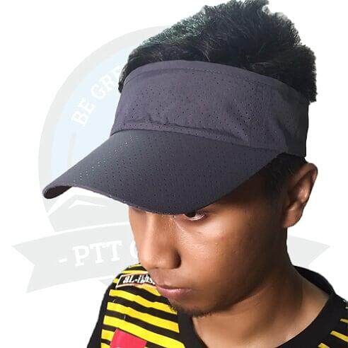 [LOCAL DELIVERY] Running Cap Visor Cap Sun Visors For Women And Men, Long Brim Thicker Sweatband Adjustable Velcro Hats Caps For Cycling Fishing - Dark Grey