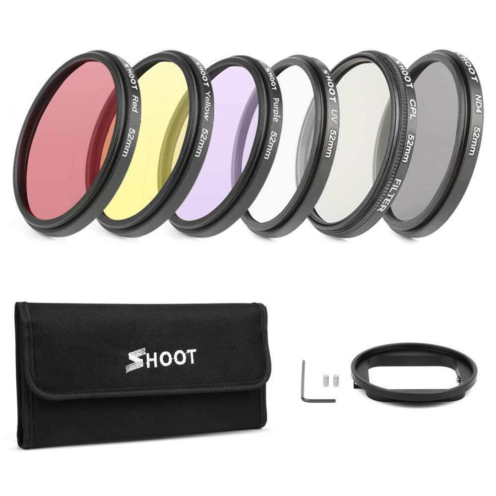 Yuero 6pcs UV CPL ND2 52mm Graduated Filter Lens Waterproof For Gopro Hero 4/3+ Camera - With Storage Bag