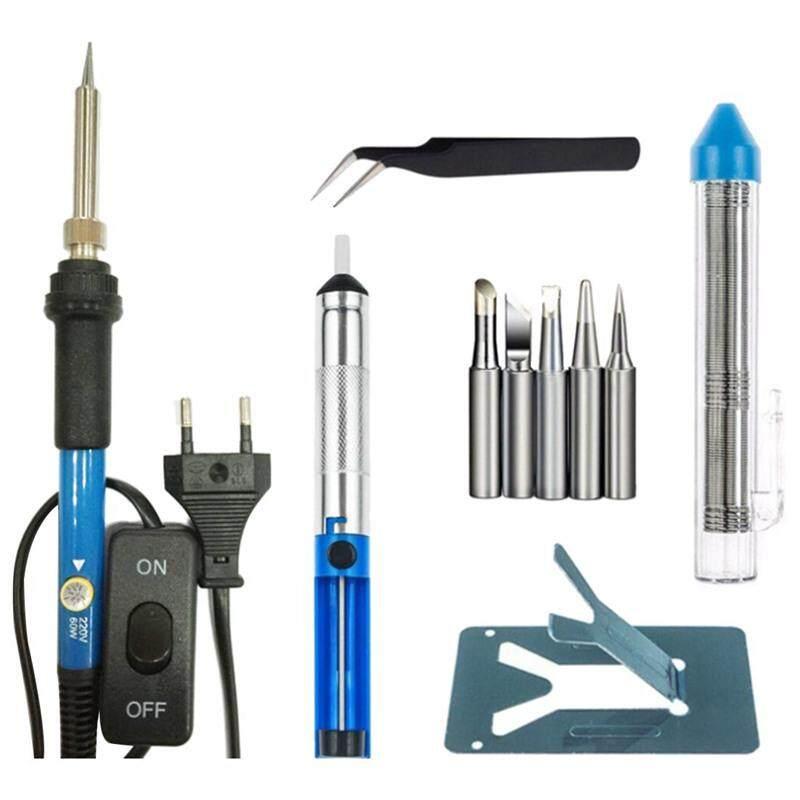 7 in 1 60W Adjustable Temperature Soldering Iron Kit Soldering Iron Tips soldering iron pump welding tweezers tube