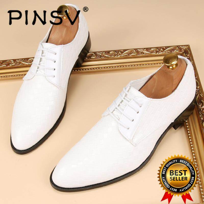 PINSV Mens Classic Formal Shoes Loafers Business Shoes (White)