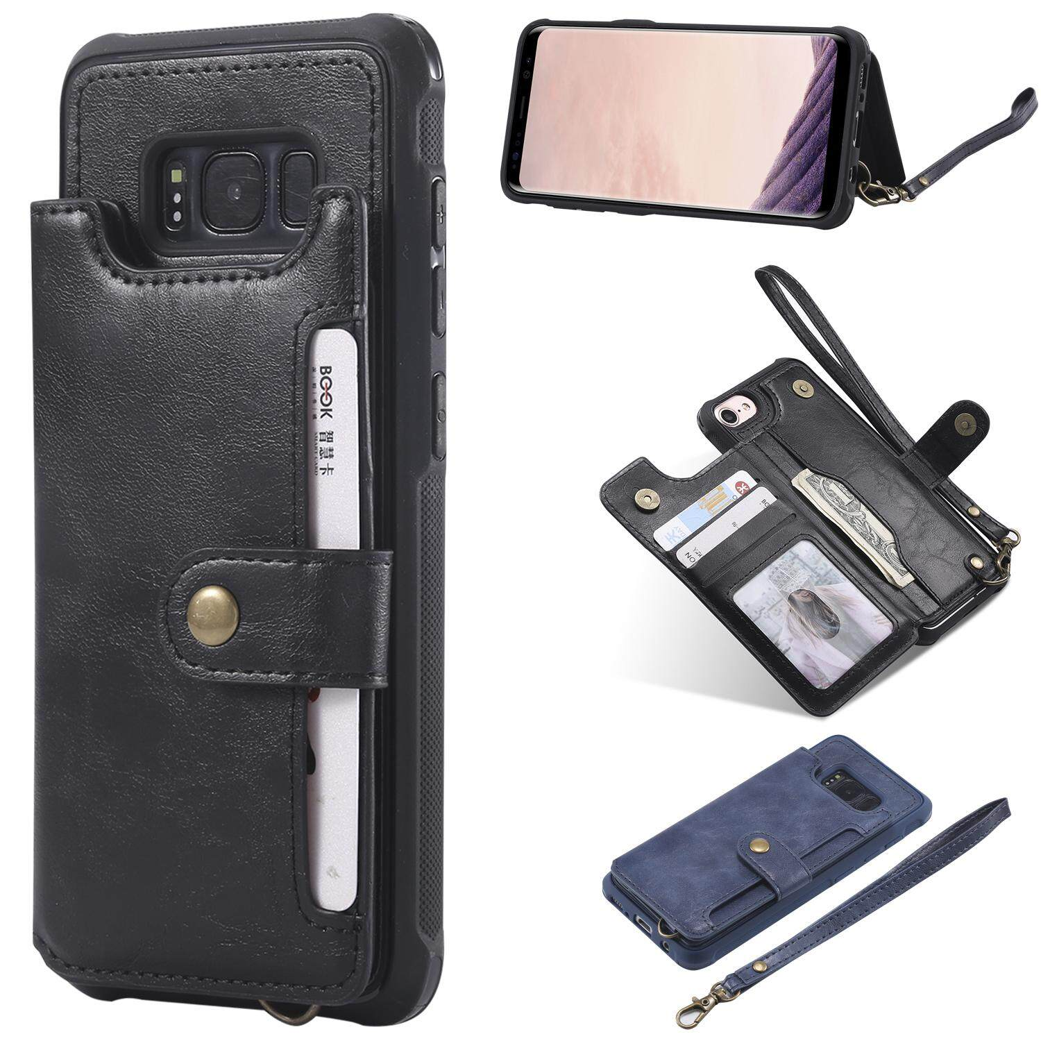 Samsung Galaxy S8 Wallet Case Universal Multifunctional Flip Cover for Samsung Galaxy S8 with Strap