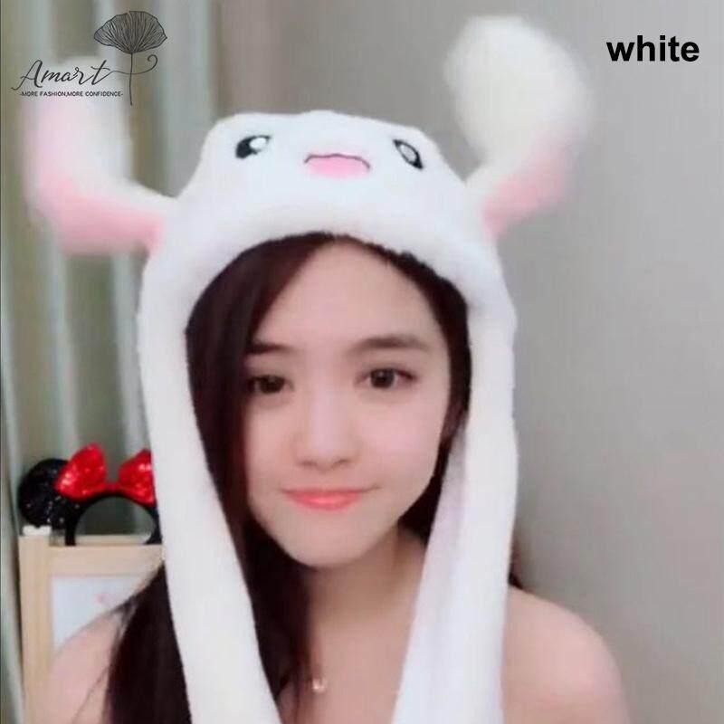 Amart Gadis Wanita Boneka Binatang Lucu Topi Kelinci Menarik Bergerak Naik  Turun Telinga Mainan Hadiah Putih 313aff6ed5