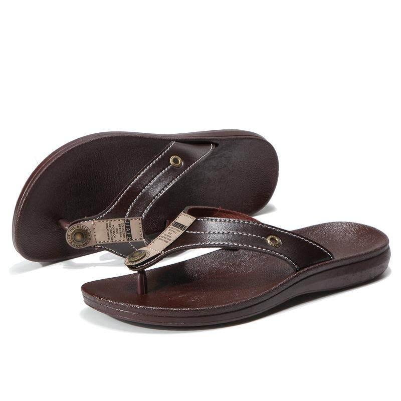 TLL Sandal Kulit Sandal Pria Kasual Tahan Lama Sandal Jepit-Intl