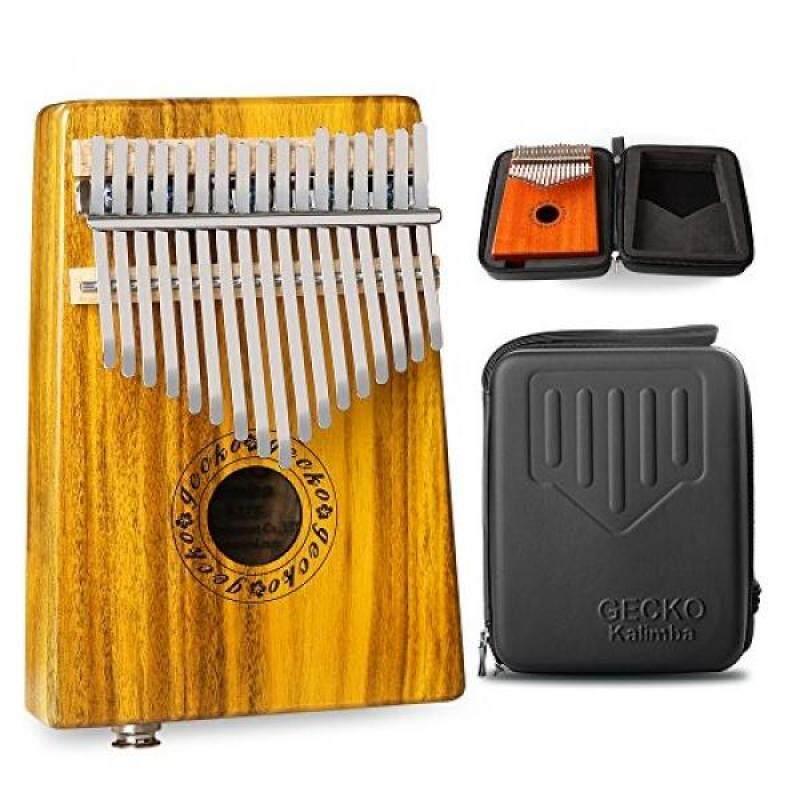 GECKO Kalimba 17 Keys Acacia(KOA) Thumb Piano Built-in pickup and EVA High Performance Protection Box, Tuning Hammer, Professional models,EQ (Solid Koa wood EQ) Malaysia