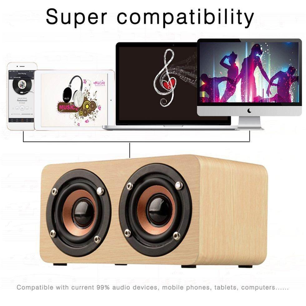 Goft Speaker Kayu Pengeras Suara Bertenaga Bluetooth Kinerja Tinggi Pengeras Suara Ganda Abu-abu