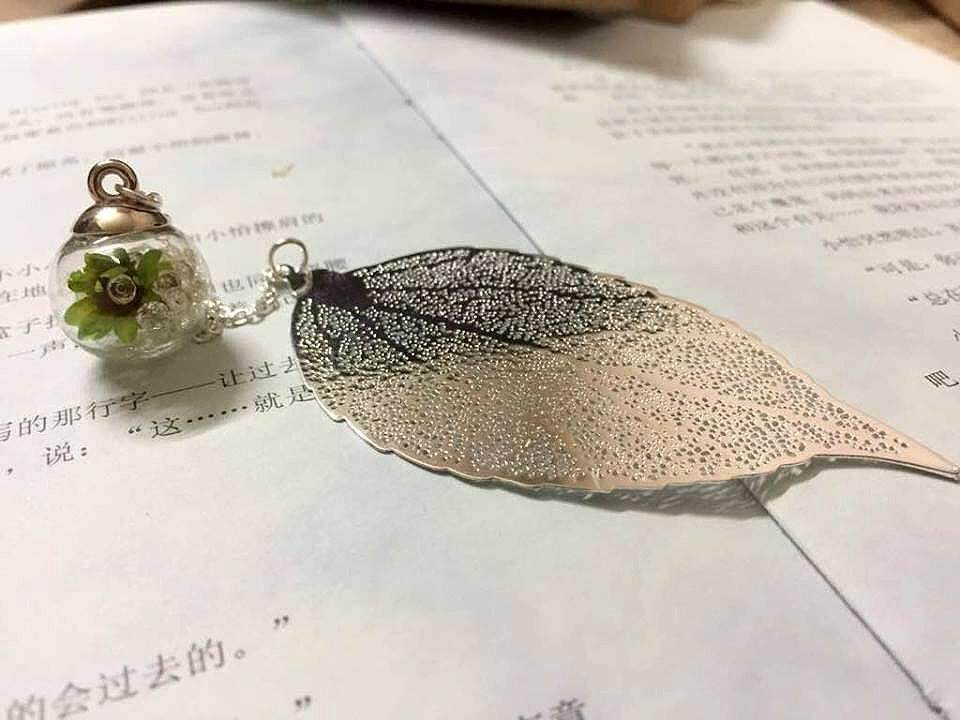 Silver Leaves Bookmark With Green Flower