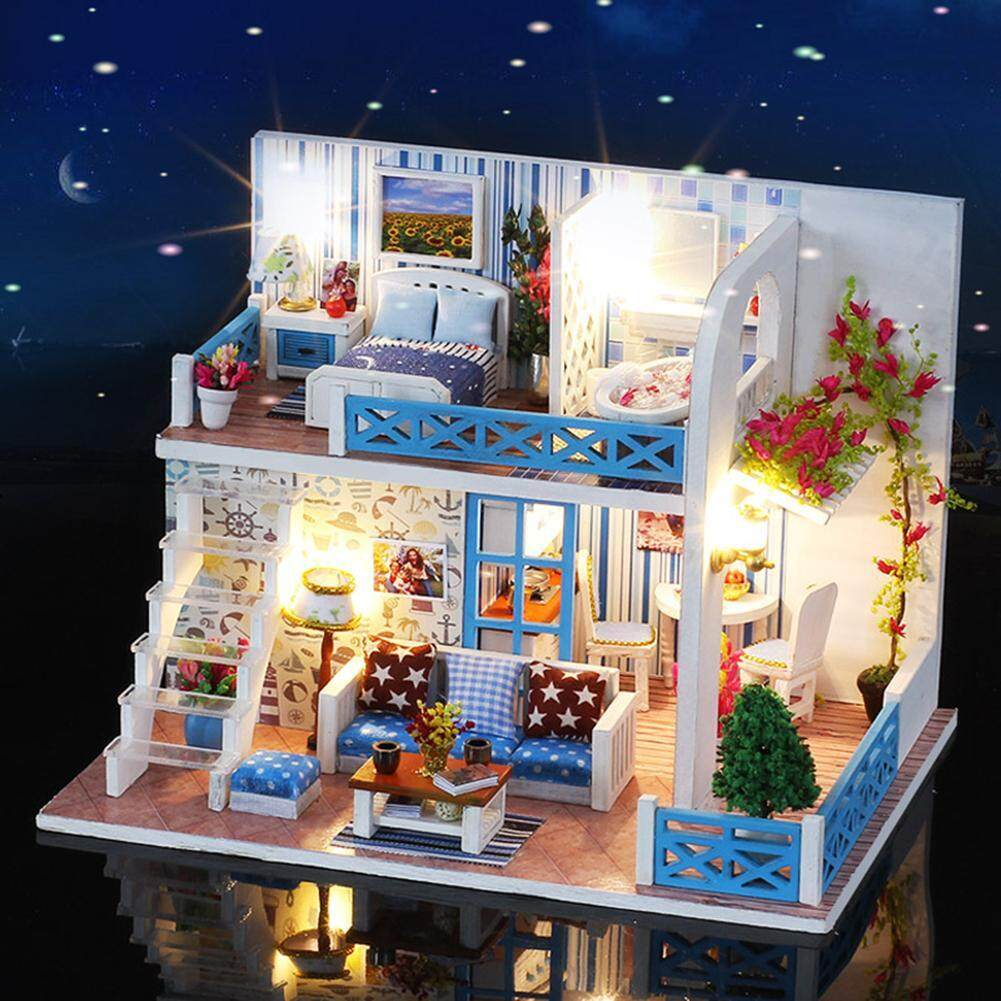 DIY Small Sea View House Wooden Hut Villa Assembly Model Birthday Gift  Helen Coast - intl ba8d3d81cf