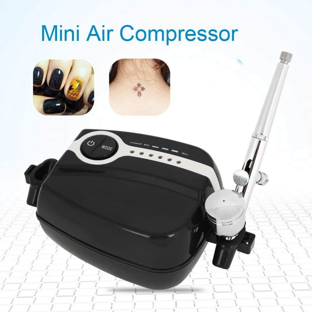 Adjustable Mini Air Compressor Airbrush Painting Machine Gravity Feed Part Fluid EU - intl Philippines