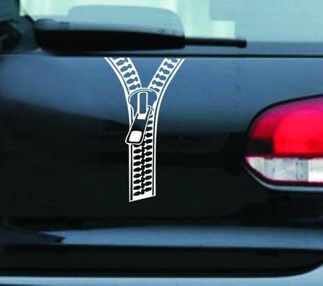 Kreatif Ritsleting Stiker Mobil Belakang Decals Dekorasi Aksesoris Pengikat Fanestiy