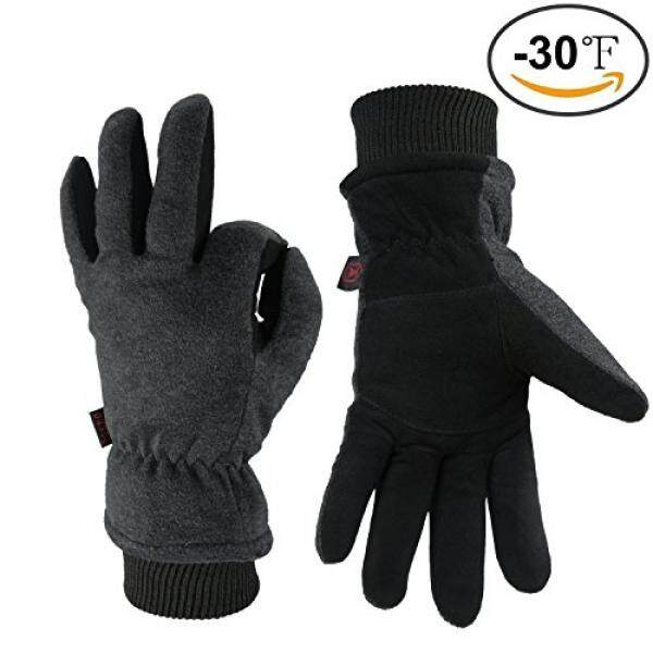 OZERO Winter Gloves -30°F Coldproof Snow Work Ski Glove - Deerskin Leather Palm & Polar Fleece Back with Insulated Cotton - Windproof Water-resistant Warm hands in Cold Weather for Women Men - Gray - intl