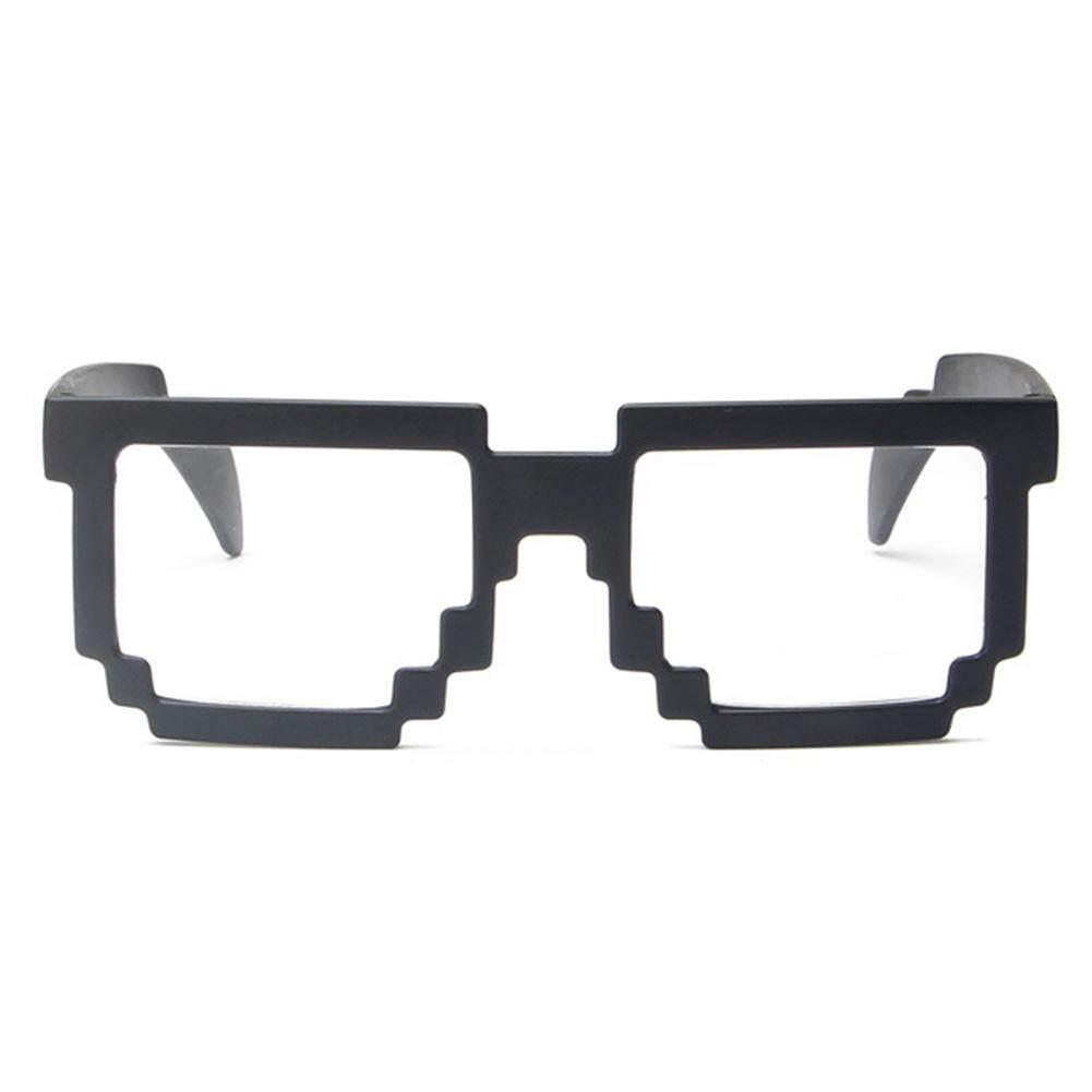 Qimiao Fashion Ringan Kacamata Hitam Dewasa Mosaik Kisi Bingkai Persegi Anti Ultraviolet Kacamata Kacamata Warna Lensa