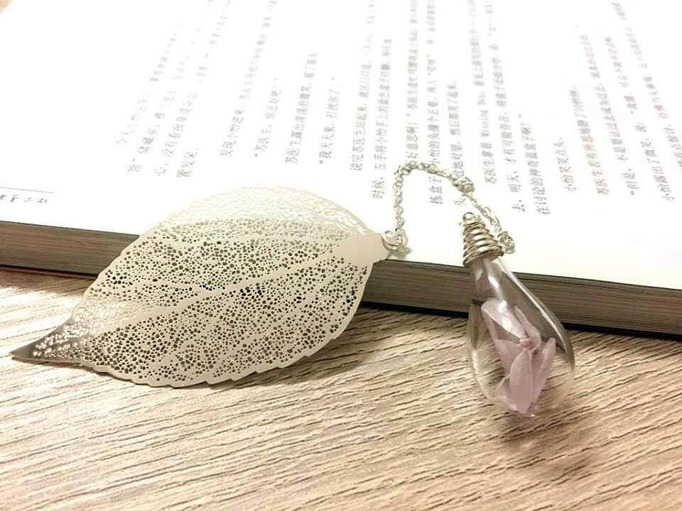 Silver Leaves Bookmark With Light Purple Petal Bulb