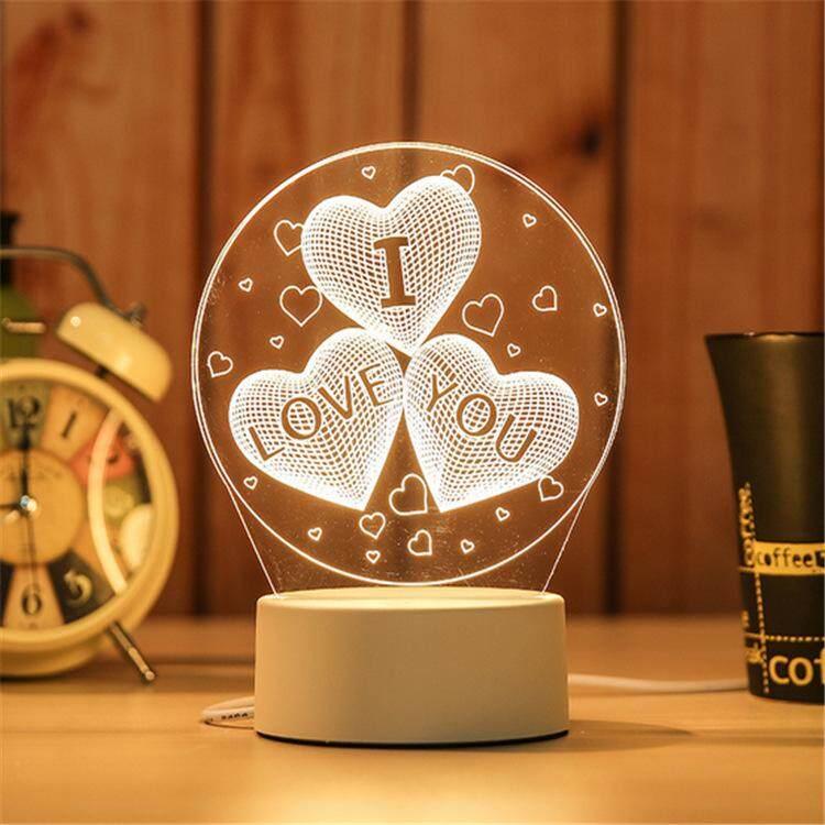 3D Optical Illusion LED Table Night Light(I Love You)