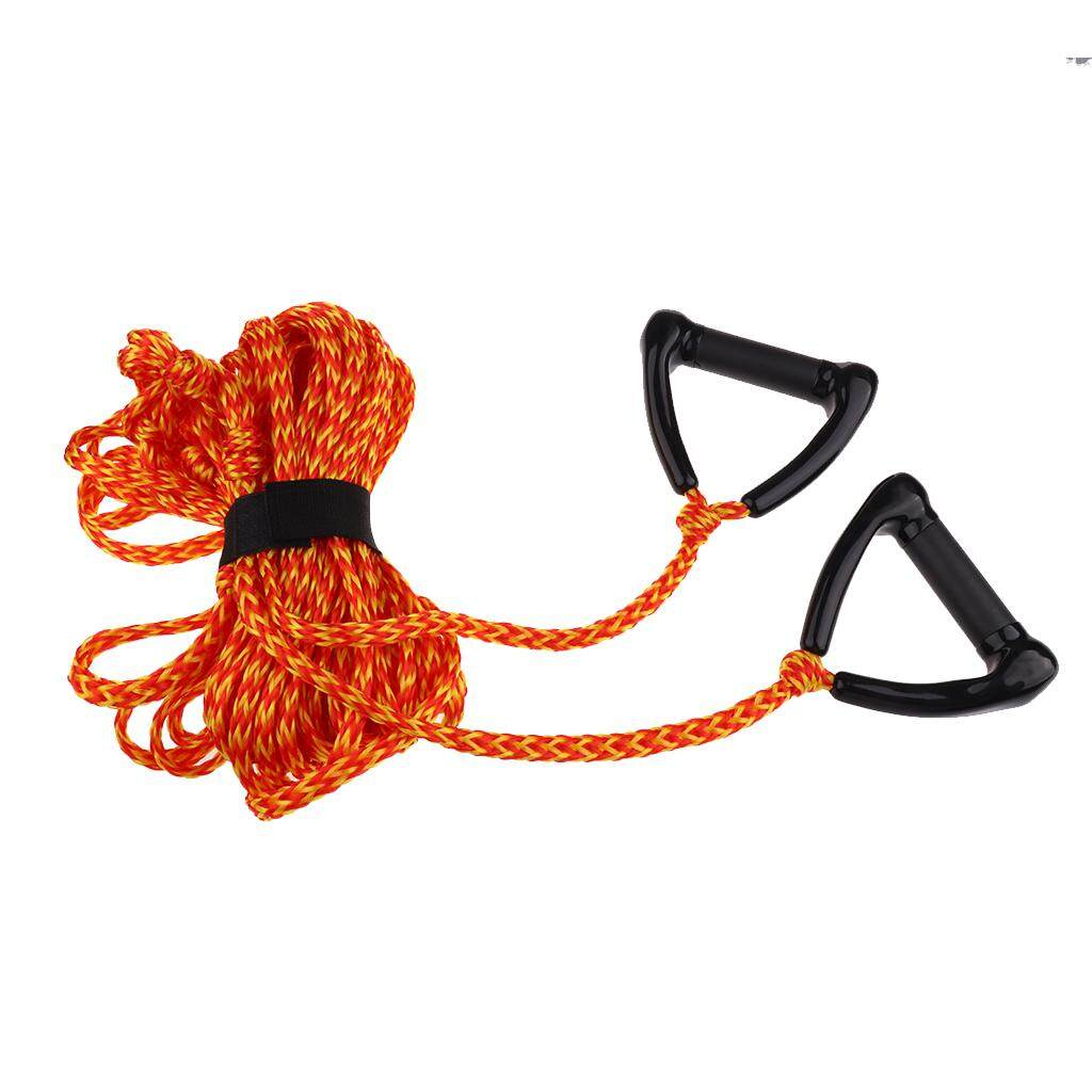 miracle shining double handle water skiing wakeboard tow harness rope 1  section 75 ft orange