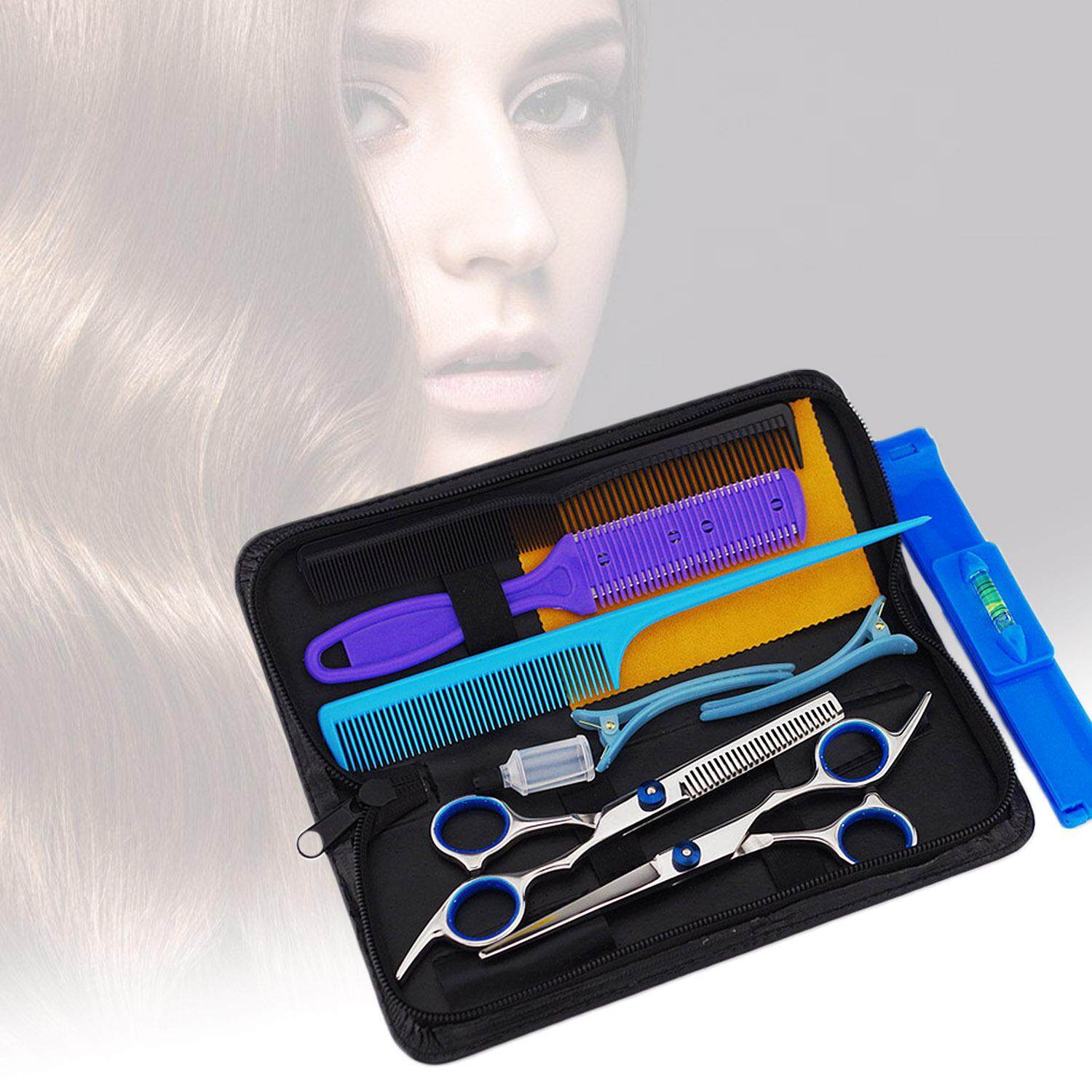 10pcs Professional Hairdressing Scissors Tools Kit Comb Hair Clip With Storage Bag Case For Family Home Hair Cutting - Intl By Stoneky.